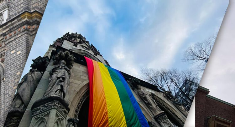 LGBT Fahnen an Kirchengebäuden